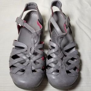 Baretraps Franky Gray Pink Leather Sandals 8